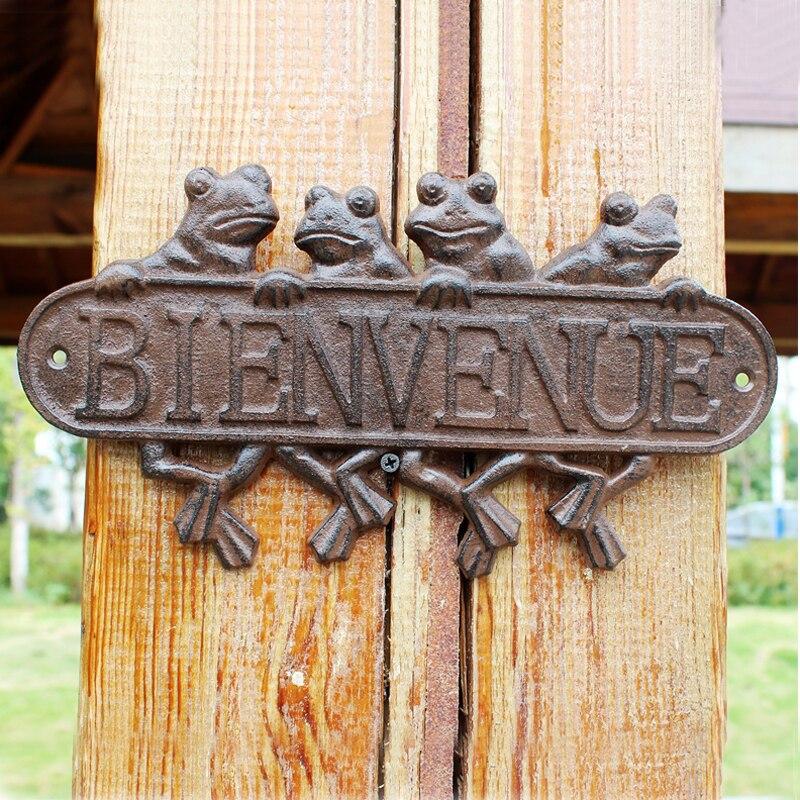 Quatre grenouilles en fonte BIENVENUE Plaques signes Antique rustique mur BIENVENUE Plaques ferme maison Accents rétro plaque murale en métal lourd