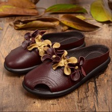Genuine Leather Handmade Women Slippers National Trend Flower Cutout Low Heels Toe Cap Covering Slippers Female Sandals F31