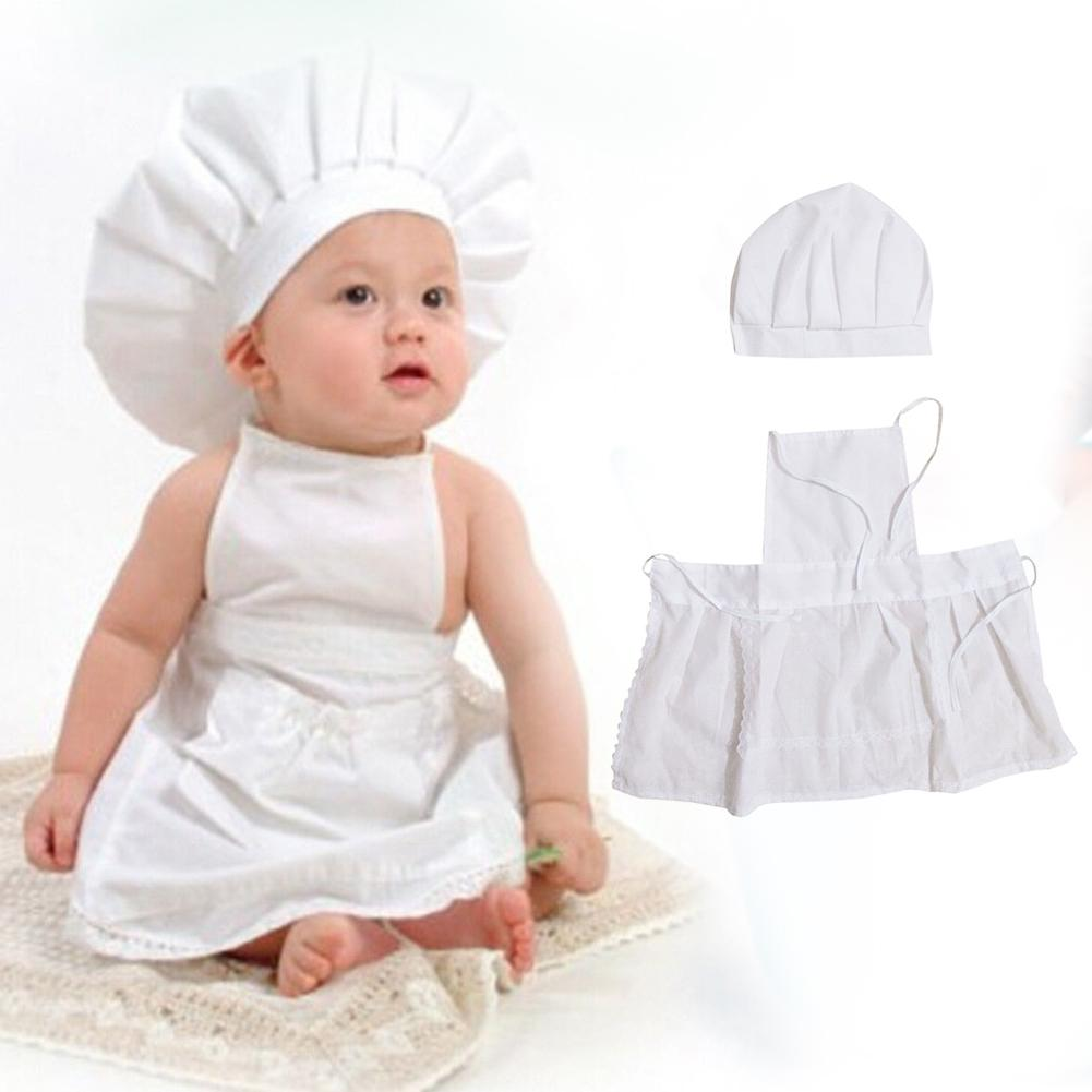2016 Cute Baby Clothes Sets Chef Cosplay Costumes Toddler Boys Girls Cotton Cook Hat + Chef Apron Newborn Photos Props OutfitD25