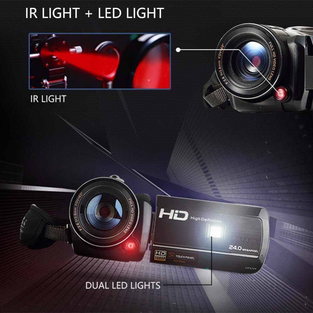 Marvie LED Fill Lights Portable 24.0 MP 3.0 Screen DV Camera FHD Camcorder Digital Video Recorder 16X Zoom IRNight Vision Cam 3