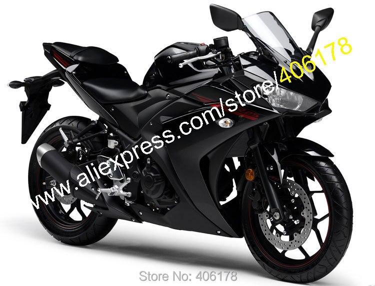 Offres spéciales, Kit carrosserie Sportbike pour Yamaha R25 R 25 15 16 R3 R 3 2015 2016 carénage moto noir Bodyworks (moulage par Injection)