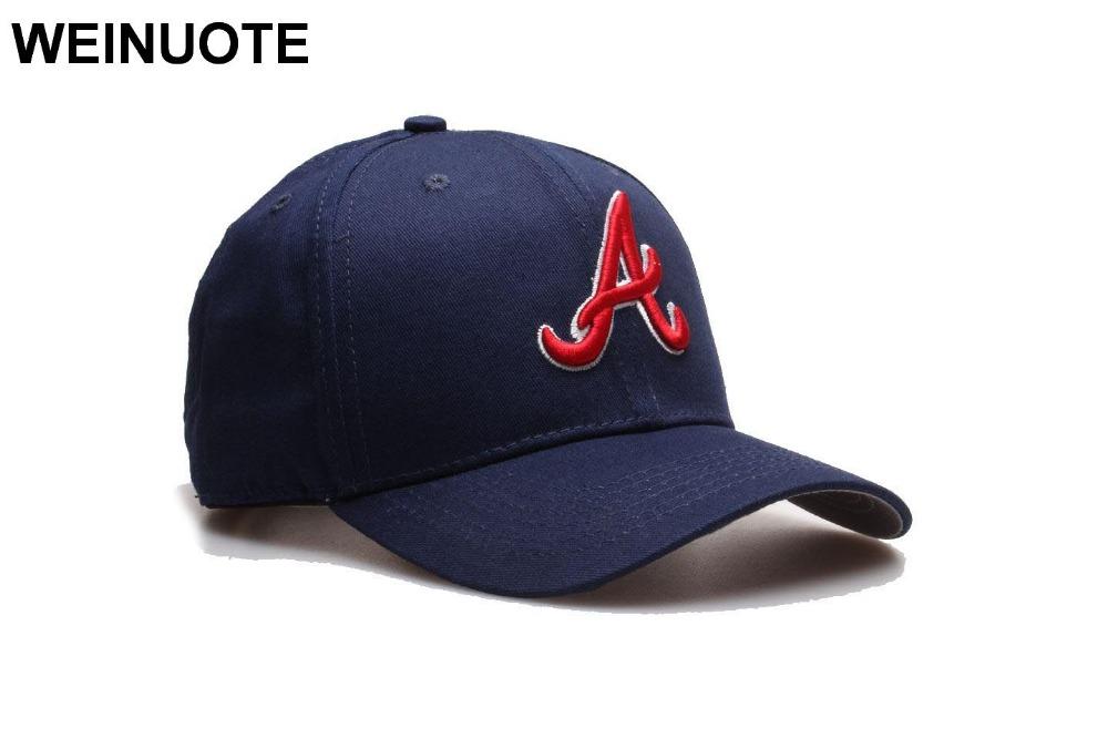 4e00c901df4 Atlanta Braves Adjustable Strapback Hats Sport classic Baseball Full Navy  Hat Red Letter A Caps Hat Fowmen Free shipping