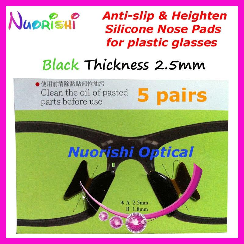 5 пар T2100 Противоскользящие силиконовые накладки для носа, наклейка для ацетатных пластиковых очков, солнцезащитных очков 1,8/2,5/2,8 мм - Цвет: Black 25 Thickness