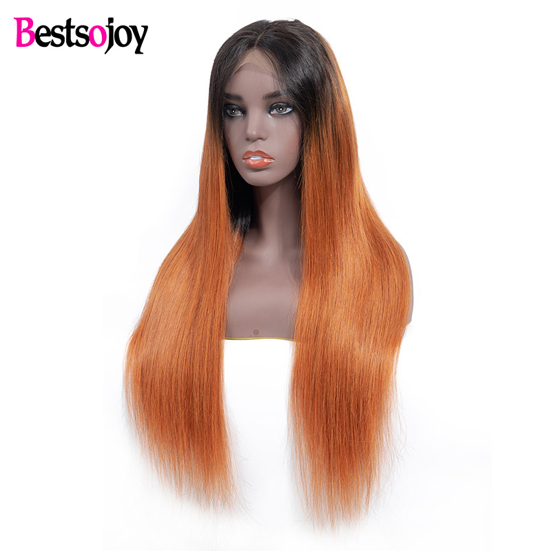 Bestsojoy Hair Ombre Lace Front Human Hair Wigs Pre Plucked Ombre Brazilian Straight Wig For Women
