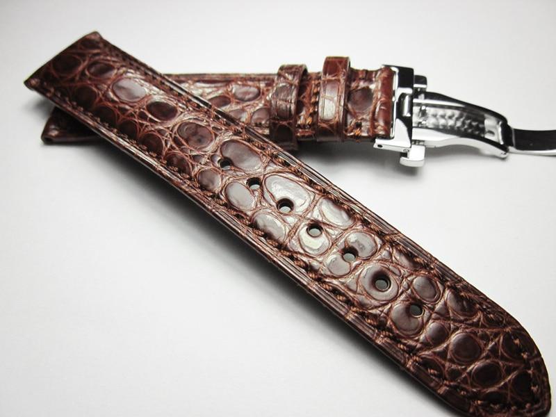 18mm 19mm 20mm 21mm 22mm Papillon Boucle/boucle Ardillon Souple Crocodile Bracelet En Cuir pour omega Bracelet Bracelet Homme Brun + Outils