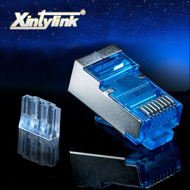 xintylink rj45 connector ethernet cable plug cat6 network gold plated 8P8C metal shielded male 8pin modular terminals blue 50pcs