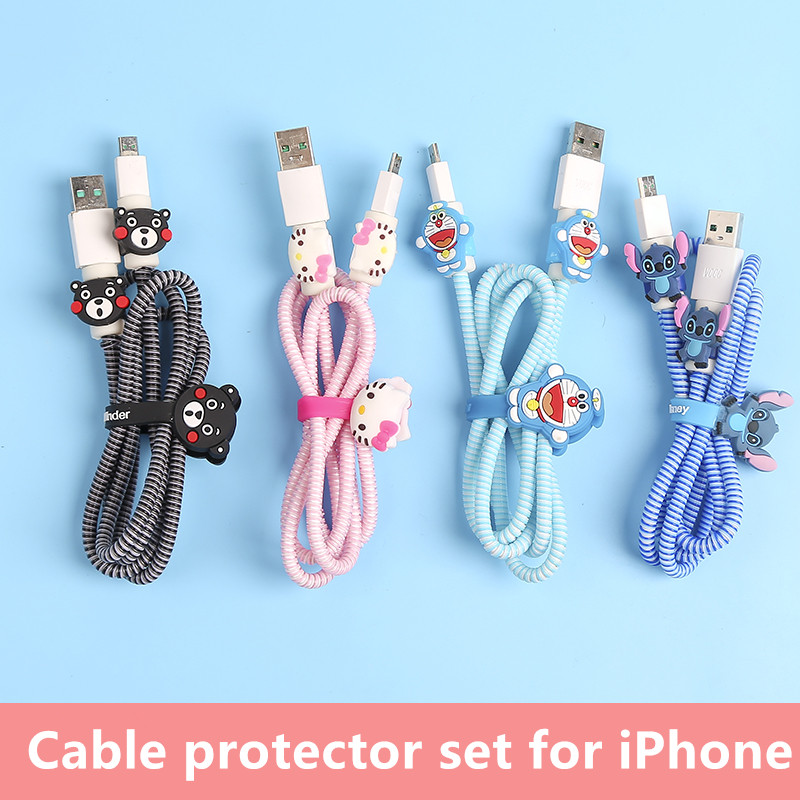 23 Styles  USB Charger Cable Protector Diy Set With Cable Winder Charging Stickers Spiral Cord Protector For Iphone 5 6 6s 7 8