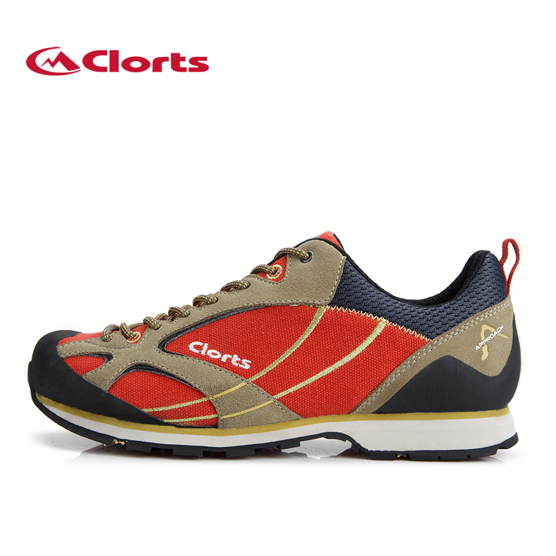 ФОТО 2017 Clorts Men Low-Cut Hiking Shoes Non-Slip Trekking Shoes Suede Leather Outdoor Shoes Approach Shoes for men