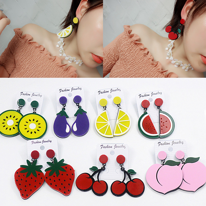 Sale Acrylic Earrings For Women Watermelon Lemon Strawberry Summer Large-sized Exaggerated Cherry Earrings