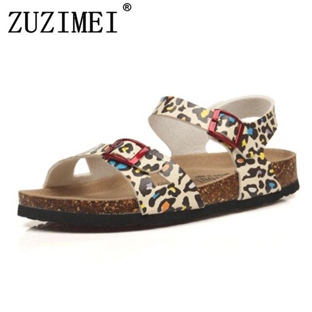 67e52ef3b4f1 Fashion Double Buckle Cork Sandals Flats 2019 New Women Summer Beach  Patchwork Casual Slipper Shoe Free Shipping Plus Size 35-43