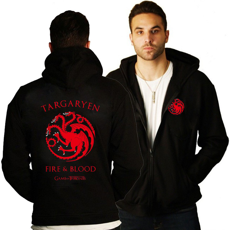 MIDUO 2018 New Autumn Game of Thrones U.S. TV Series House Targaryen Men Cashmere Sweatshirt Casual Coat Fleece Hoodies Zipper H
