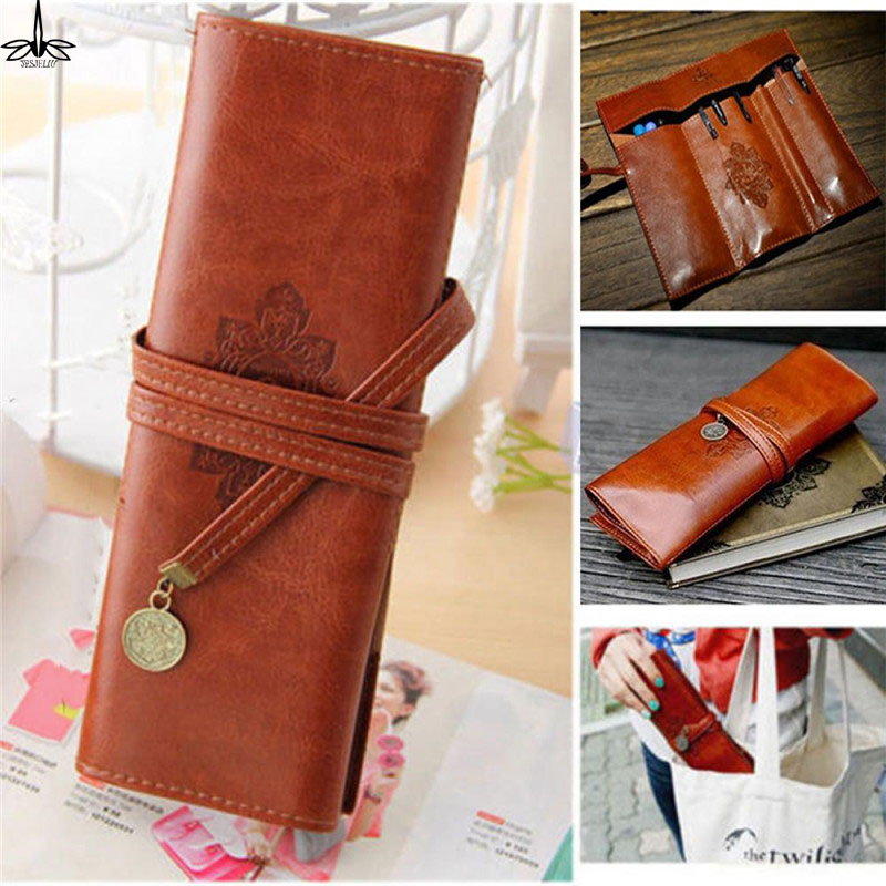 New Trendy Retro Vintage Pencil Pen Case Cosmetic Pouch Pocket Portable School Supplies Pencil Bags