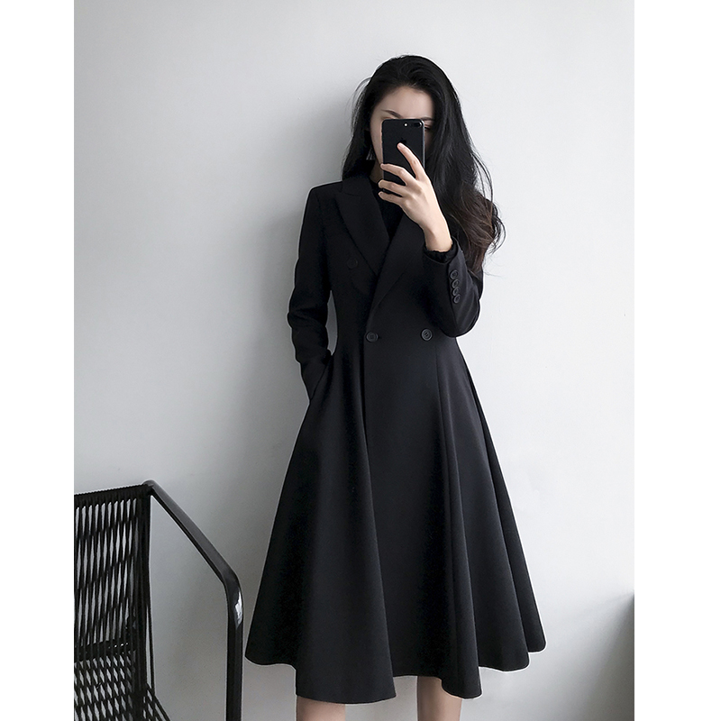Capa Delgada Negro Doble Hem Cintura Breasted Larga Falda Otoño Trench Black Mujeres Cazadora 2018 Coat 0waPPq
