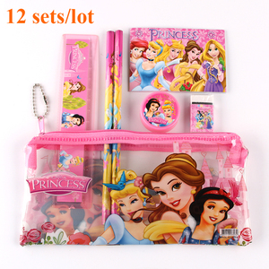 Image 1 - 12 Sets/Lot Princess Kids Stationary School Supplies School Pencil Case Set Cartoon Cute Stationery High Quality Wholesale
