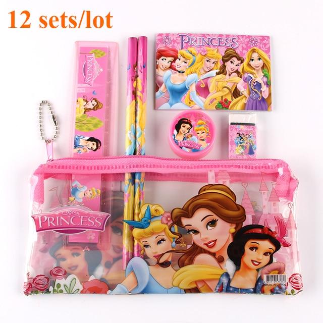 12 Sets/Lot Princess Kids Stationary School Supplies School Pencil Case Set Cartoon Cute Stationery High Quality Wholesale
