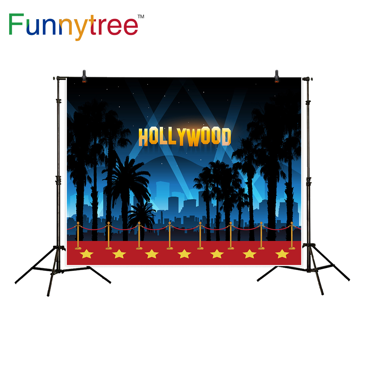 Funnytree background for photography stars red carpet party decor hollywood city night backdrop photo studio photocall new ...