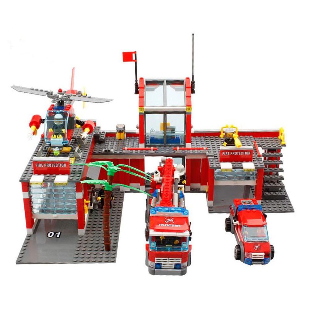 Fire Station Model Building Blocks Toy Assembly Small Particles Compatible Bricks Brinquedos Toys for Children Christmas Gift kazi 6726 police station building blocks helicopter boat model bricks toys compatible famous brand brinquedos birthday gift