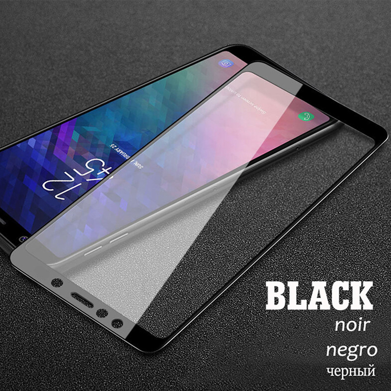 9D Tempered Glass For Samsung Galaxy A7 2018 A3 A5 A7 2017 Full Coverage Screen Protector For Samsung A6 A8 Plus J4 J6 Plus 2018 in Phone Screen Protectors from Cellphones Telecommunications