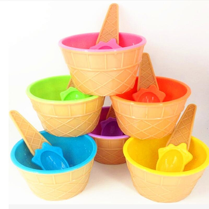6 Patterns Ice Cream Tool Cup High Quality Plastic PS Bowl With Spoon Tools  For Children Birthday Party Supplies Wholesale