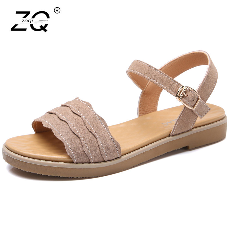 ZOQI Suede Women Summer Sandals 2018 Casual Beach Shoes Woman Sandals Trend Black Flat Sandals Women Zapatos Mujer Size 35-40