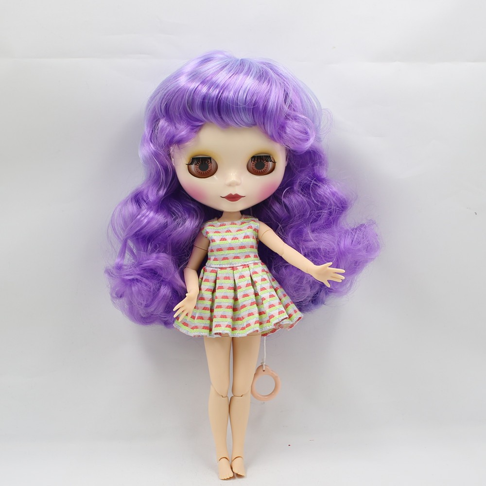 Neo Blythe Doll with Purple Hair, White Skin, Shiny Face & Jointed Body 5