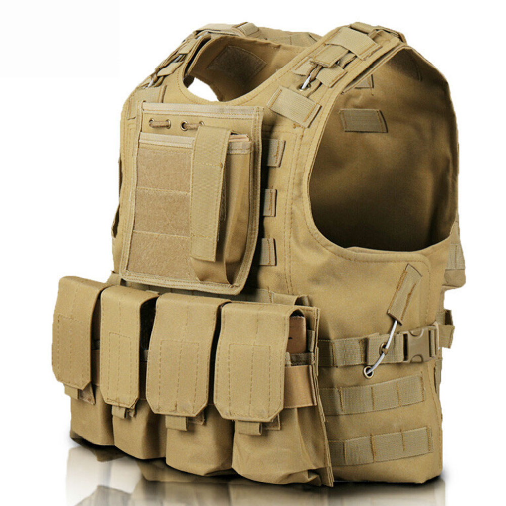 Tactical Vest Airsoft Molle Tactical Plate Carrier Vest Combat Training Vest with 4 Mag Pouches + 1 Utility Accessories Bag accessories bag quick tug tactical vest accessory box page 4
