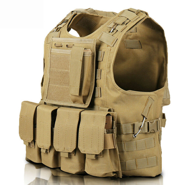 Tactical Vest Airsoft Molle Tactical Plate Carrier Vest Combat Training Vest  with 4 Mag Pouches + dadb08a32e8c2
