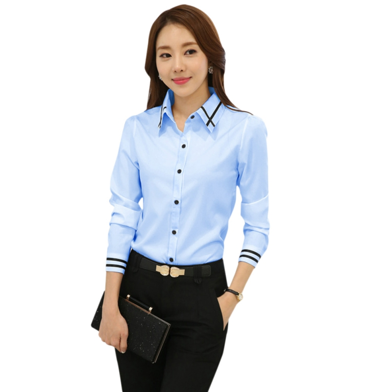 Women Fashion White Blue Long Sleeve Turn-down Collar Formal Shirt Ladies Elegant Shirt Tops Office Blouse CO1