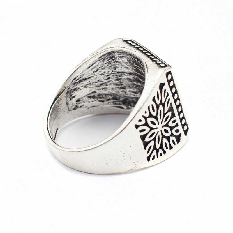 ใหม่ล่าสุด Vintage แหวนเงินชุบดอกไม้งานแต่งงานแหวนวงแหวนผู้ชายเครื่องประดับ