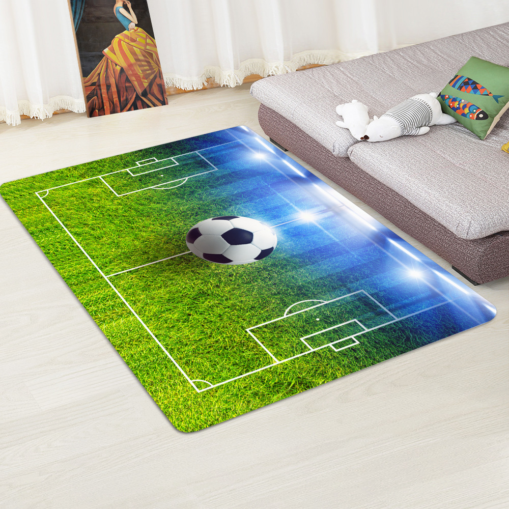 Modern Carpet 3D Football Area Rugs Flannel Rug Memory