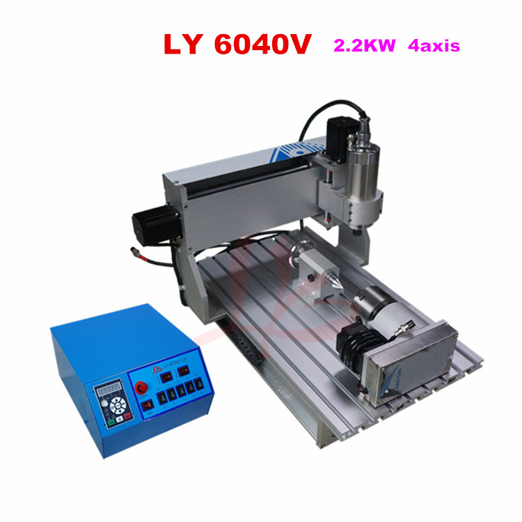 LY mini CNC 6040V 2.2KW 4 axis mini CNC milling machine lathe VFD control box free tax to EU eur free tax cnc router lathe machine 6040 5axis wood milling and drilling machine for woodenworking