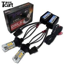 Tcart 1 комплект, автомобильные DRL дневные ходовые огни, поворотники, Автомобильные светодиодные лампы, белые+ золотые лампы WY21W 7440 для Infiniti FX37 FX 50 2011