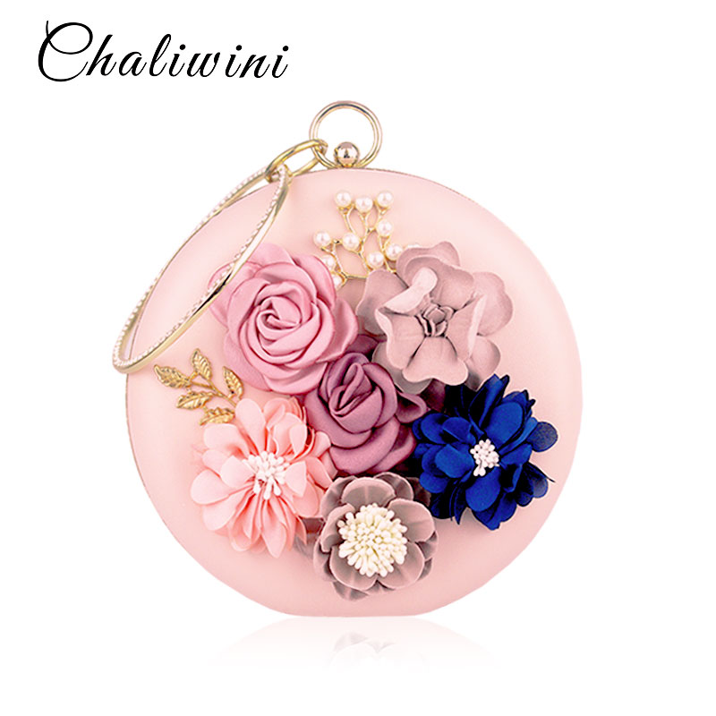 Chaliwini Bags For Women 2019 Ladies Designer Luxury White Wedding Purses And Handbags Round Shape Evening Women Handbag