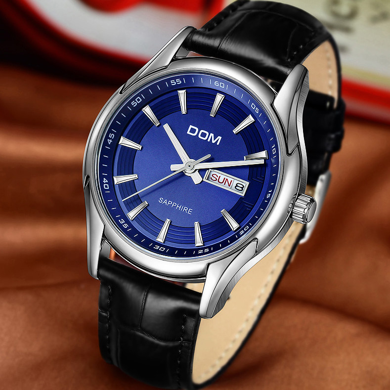 DOM Famous Brand Mens Watches Top Brand Luxury Business Quartz-watch Clock Leather Strap Male Wristwatch Relogio Masculino binssaw fashion watches men top brand luxury quartz watch male business wristwatch mens leather dress clock relogio masculino