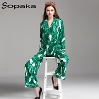 SOPAKA High Quality Green Banana Leaf Floral Printed Women Sets Runway Designer Two Piece Set Long