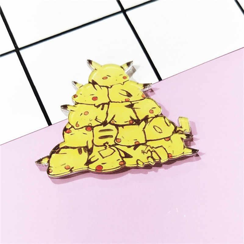 1 ชิ้นน่ารัก Harajuku ซ้อน Pikachu อะนิเมะอะคริลิคเข็มกลัดเสื้อผ้ากระเป๋าเป้สะพายหลังไอคอน Brooches Pins สำหรับของขวัญเด็กป้าย