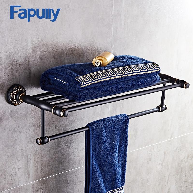 Fapully Gold Towel Shelf High Quality Wall Mount Aluminum Bathroom Double Towel Holder Black reflection spectroscopy shelf mount open pg207 15 to 50 70 100