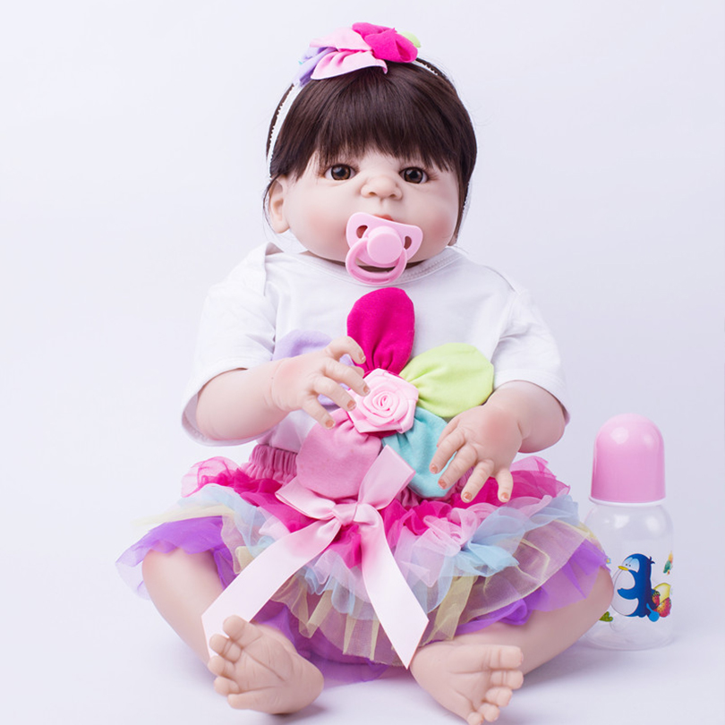 55cm Hot Sale Newborn Dolls Lifelike Baby Girl Princess Kids Toys For Children Gifts Fashion Cute Silicone Reborn Baby Dolls hot sale 12cm foreign chavo genuine peluche plush toys character mini humanoid dolls