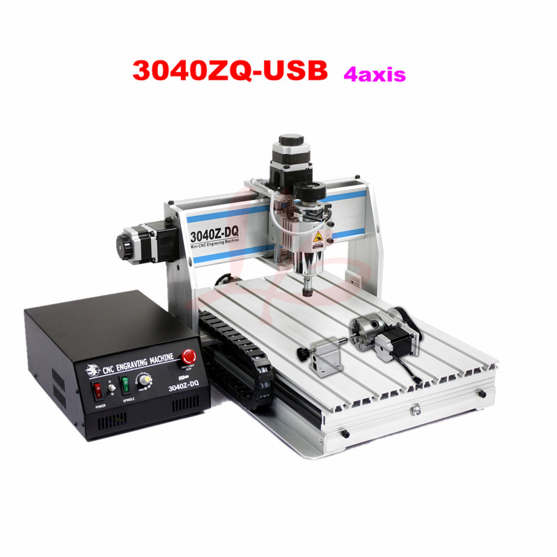 3040ZQ-USB 4axis CNC engraving machine for metal wood stone cutting cnc router wood milling machine cnc 3040z vfd800w 3axis usb for wood working with ball screw