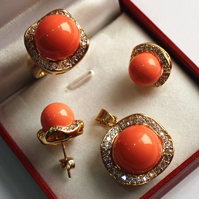 wholesale noble jewelry set 18KGP+12-14mm orange shell pearl,ring, pendant & stud earring