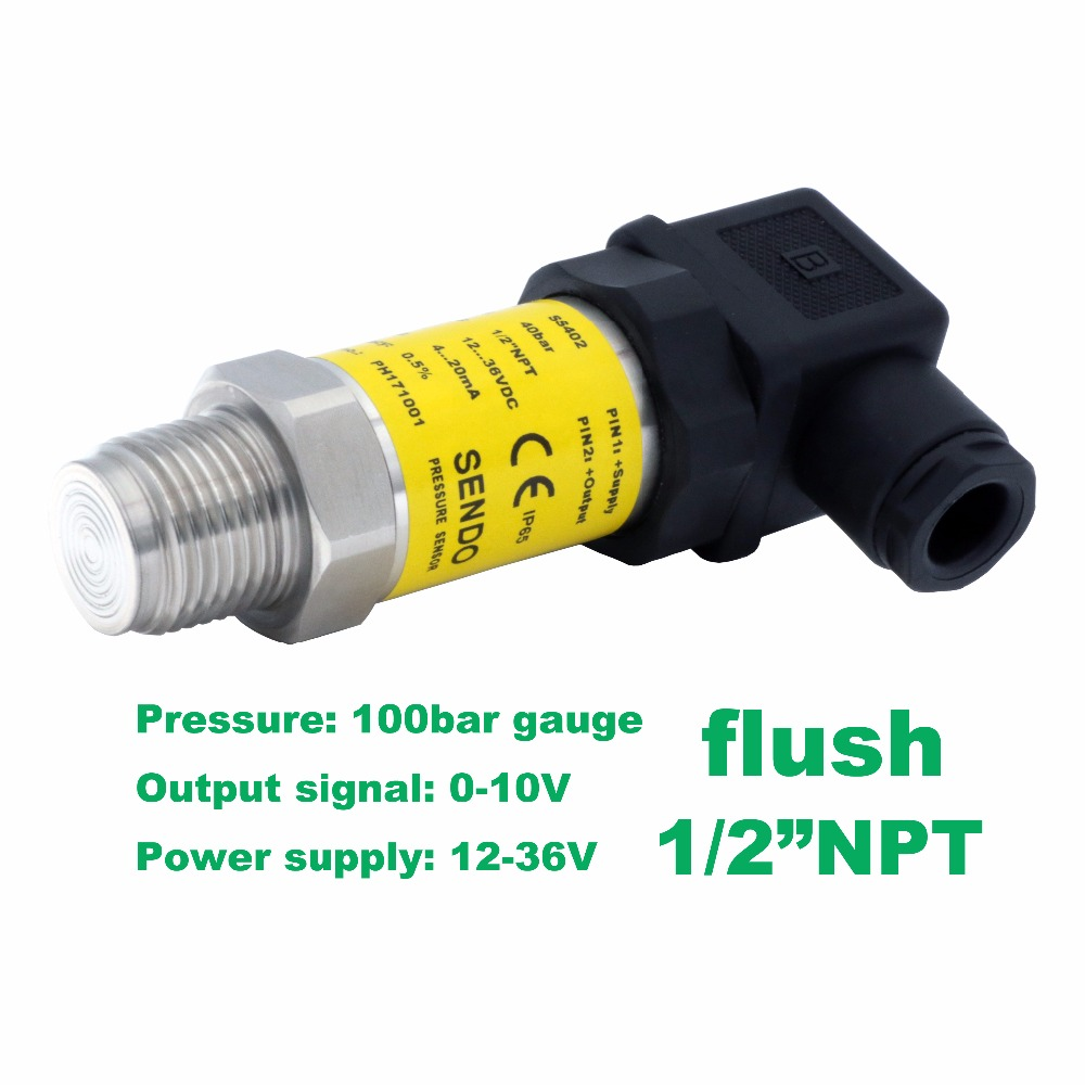 flush pressure sensor 0-10V, 12-36V supply, 10MPa/100bar gauge, 1/2