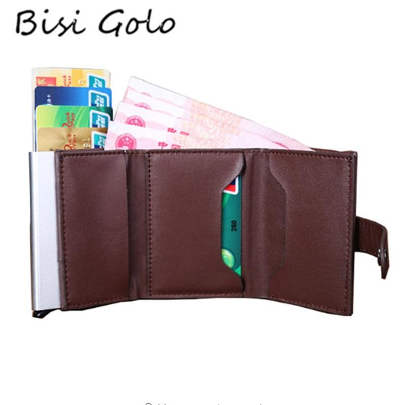BISI GORO Genuine Leather Credit Card Holder Aluminium Men Women Credit Card Wallet Netherlands Top Selling Business Card Case