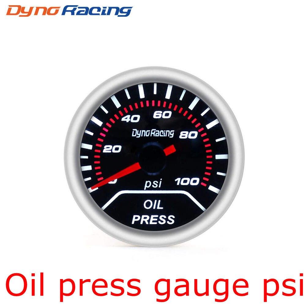 """Dynoracing """" 52 мм Автомобильный манометр бар psi температура выхлопных газов температура воды Температура масла пресс воздуха датчик топлива вольтметр Тахометр - Цвет: Oil Press Gauge PSI"""