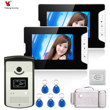 Yobang Security HD7″ Screen Video Intercom Door Phone System 2 Monitors + RFID Access Camera + Electric Control Door Lock