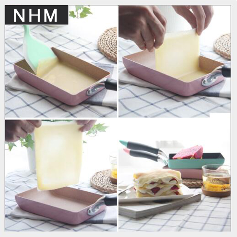 NHM 1 pcs Japanese omelette skillet square egg rolls do not stick to the skillet thick egg cooking do not stick to the pan