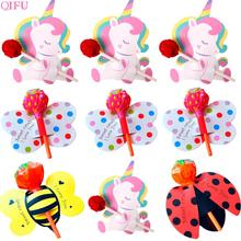 QIFU 50pcs Lollipop paper card Unicorn Decor Birthday Kids Party Supplies Bee Ladybug Baby shower