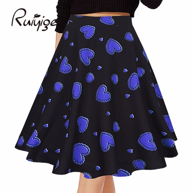 Printed Ball Gown High Waist Pleated Midi Flared Skirt Tutu faldas 3 Colors In Stock Plus Size