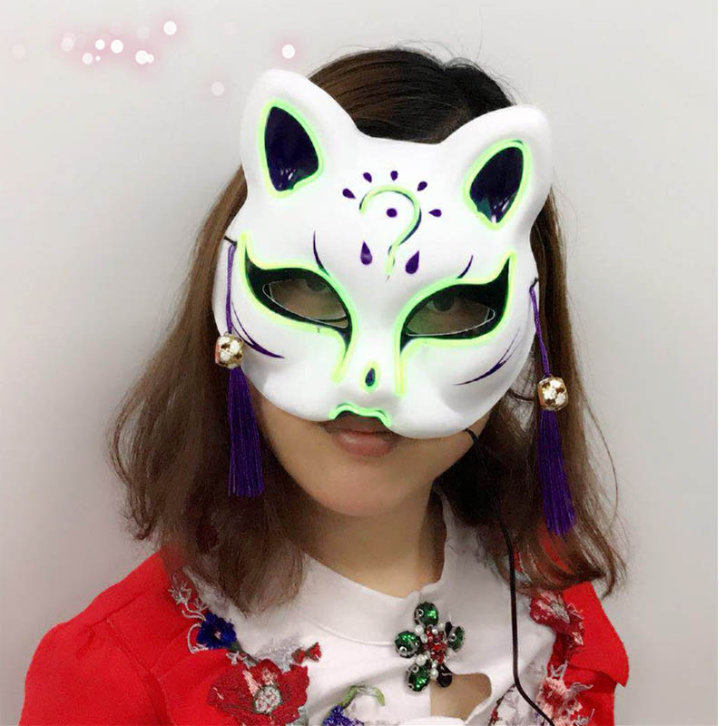 EL wire Mask Flashing Cosplay LED MASK Costume cat  Mask for Glowing dance Carnival Party Masks  by 3V Steady on
