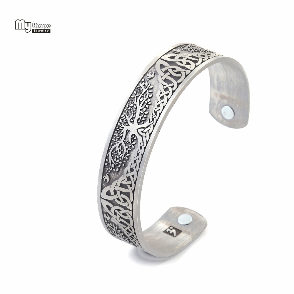 My Shape Silver Plated Magnetic Bracelets Bangles for Women Viking Cuff Bangle Bracelet Men Life Tree Engraved Jewelry pair of stylish coconut tree shape silver alloy cufflinks for men