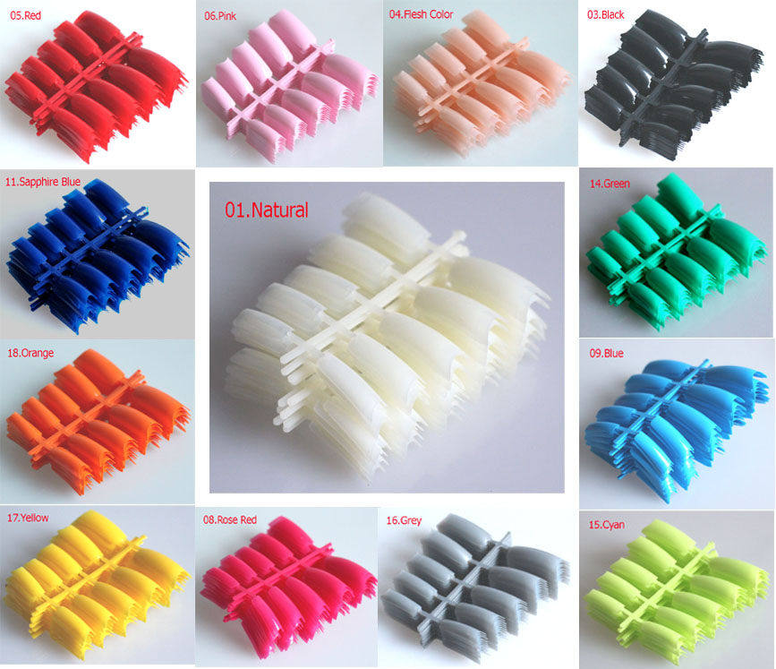 19 Colors ! 100pcs Acrylic French C Curve Fake Nails Faux Ongles ...